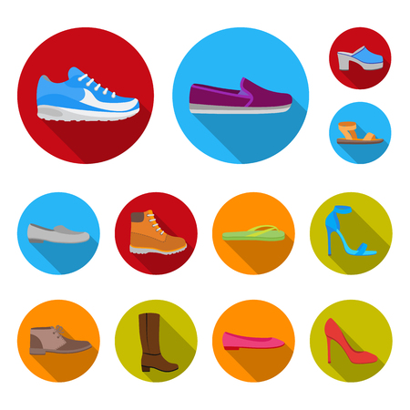A variety of shoes flat icons in set collection for design vector symbol stock web illustration. Illustration