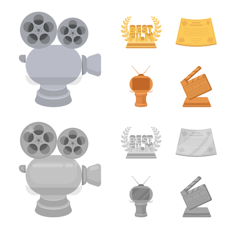 Silver camera. A bronze prize in the form of a TV and other types of prizes.Movie award,sset collection icons in cartoon,monochrome style vector symbol stock illustration web.