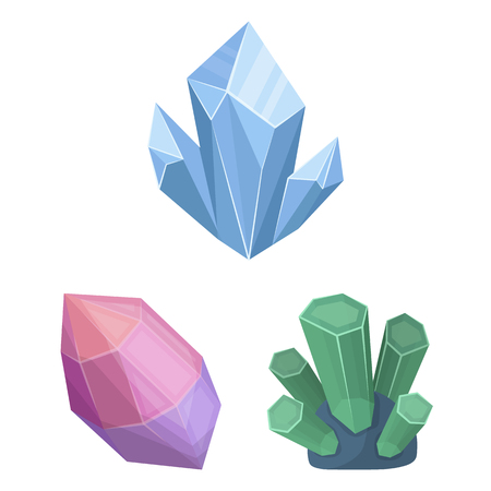 Precious Minerals cartoon icons in set collection for design. Jeweler and Equipment vector symbol stock  illustration.