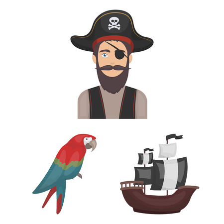 Pirate, sea robber cartoon icons in set collection for design. Treasures, attributes vector symbol stock  illustration. Illustration