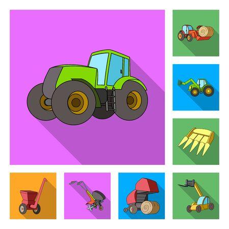 Iconos planos de maquinaria agrícola en conjunto para el diseño. Equipo y dispositivo vector símbolo stock web ilustración.