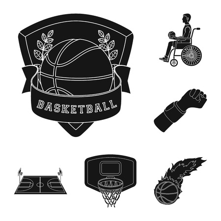 Basketball and attributes black icons in set collection for design.Basketball player and equipment vector symbol stock web illustration. Ilustração