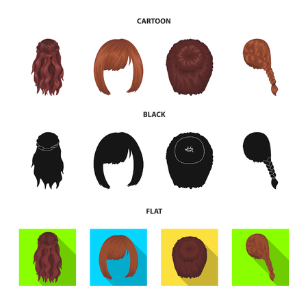 Kara, red braid and other types of hairstyles. Back hairstyle set collection icons in cartoon,black,flat style vector symbol stock illustration . Иллюстрация