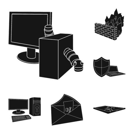 Hacker and hacking black icons in set collection for design. Hacker and equipment vector symbol stock web illustration. Illustration