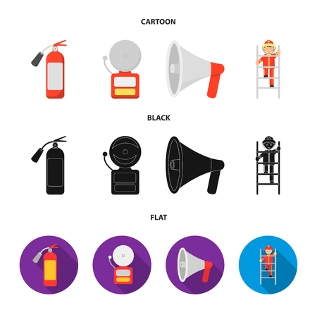 Fire extinguisher, alarm, megaphone, fireman on the stairs. Fire departmentset set collection icons in cartoon,black,flat style vector symbol stock illustration web. 일러스트