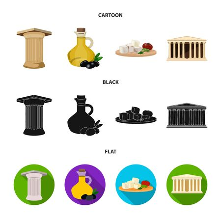 Greece, country, tradition, landmark Greece set collection icons in cartoon, black, flat style vector symbol stock illustration web.