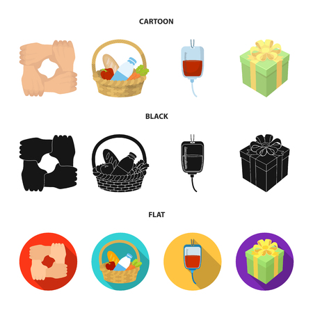 Gesture of the hands in support, a basket with food for charity, donor blood, a gift donation box. Charity and donation set collection icons in cartoon, black, flat style vector symbol stock illustration web.