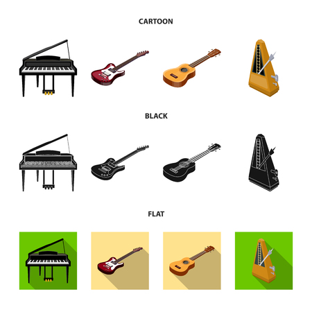 Musical instrument cartoon,black,flat icons in set collection for design. String and Wind instrument isometric vector symbol stock  illustration.