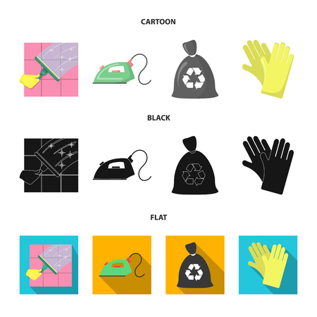 Cleaning and maid cartoon,black,flat icons in set collection for design. Equipment for cleaning vector symbol stock  illustration. Stock Illustratie