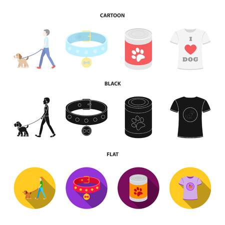 A man walks with a dog, a collar with a medal, food, a T-shirt I love dog.Dog set collection icons in cartoon,black,flat style vector symbol stock illustration .