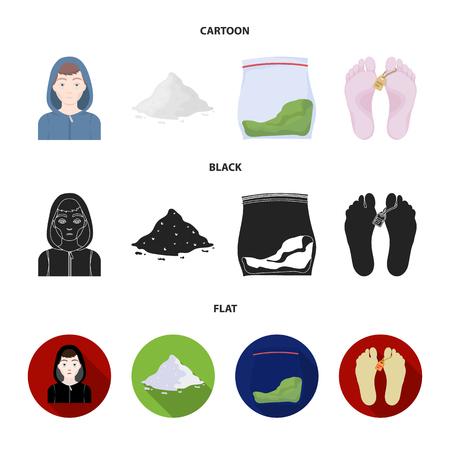 Addict, cocaine, marijuana, corpse.Drug set collection icons in cartoon,black,flat style vector symbol stock illustration . Illustration