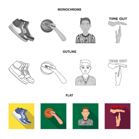Basketball and attributes flat,outline,monochrome icons in set collection for design.Basketball player and equipment vector symbol stock  illustration. 일러스트