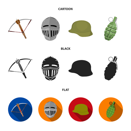 Crossbow, medieval helmet, soldier helmet, hand grenade. Weapons set collection icons in cartoon,black,flat style vector symbol stock illustration .