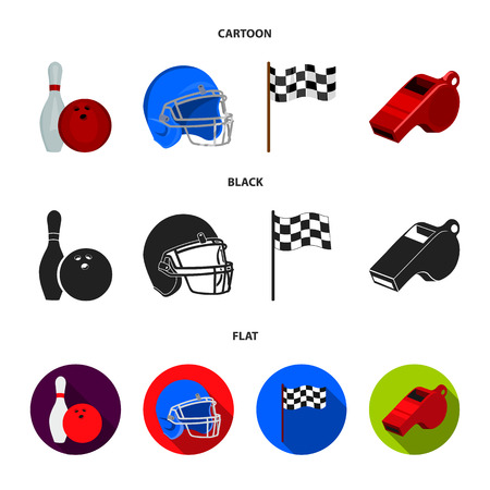 Bowl and bowling pin for bowling, protective helmet for playing baseball, checkbox, referee, whistle for coach or referee. Sport set collection icons in cartoon,black,flat style vector symbol stock illustration web.