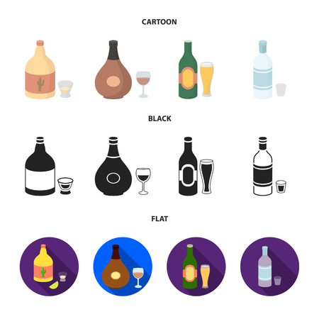 Tequila, cognac, beer, vodka.Alcohol set collection icons in cartoon,black,flat style vector symbol stock illustration web.