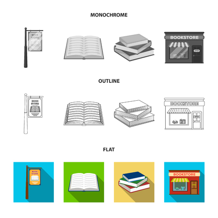 A table with old documents, bookshelves, folders, a visitor. A library and a bookstore set collection icons in flat, outline, monochrome style vector symbol stock illustration web. Vectores
