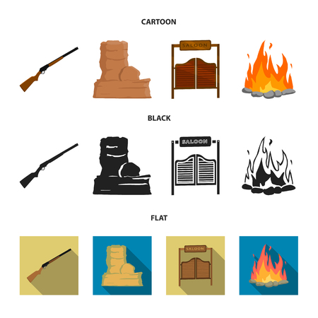 Winchester, saloon, rock, fire. Wild west set collection icons in cartoon, black, flat style vector symbol stock illustration web.