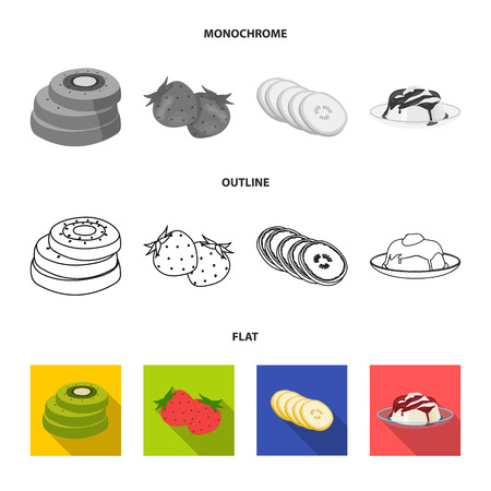 Fruits and other food. Food set collection icons in flat, outline, monochrome style vector symbol stock illustration web.
