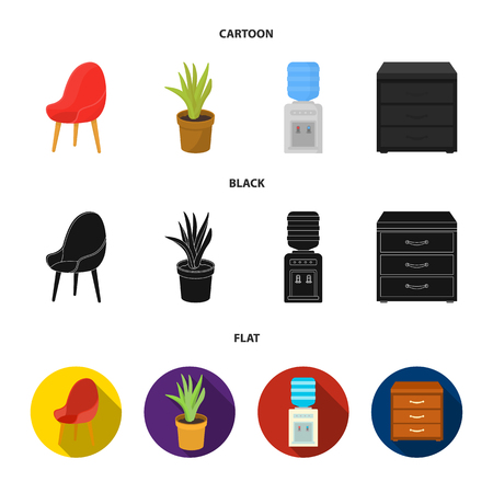 A red chair with a comfortable back, an aloe flower in a pot, an apparatus with clean water, a cabinet for office papers. Office Furniture set collection icons in cartoon, black, flat style vector symbol stock illustration web.