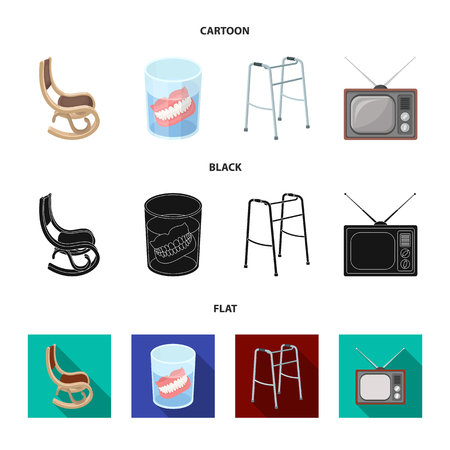 Denture, rocking chair, walker, old TV. Old age set collection icons in cartoon, black, flat style vector symbol stock illustration web.