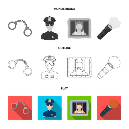 Radio, police officer badge, uniform cap, pistol. Police set collection icons in flat, outline, monochrome style vector symbol stock illustration web.