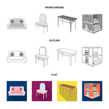 Furniture and interior set collection icons in flat, outline, monochrome style isometric vector symbol stock illustration web.