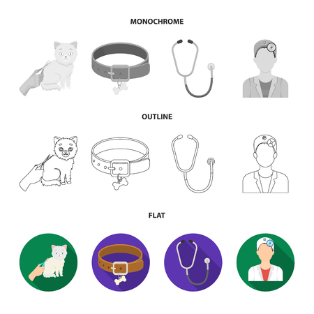 Collar, bone, cat, haircut. Vet Clinic set collection icons in flat, outline, monochrome style vector symbol stock illustration web.