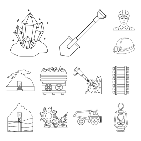 Mining industry outline icons in set collection for design. Equipment and tools vector symbol stock illustration. Illustration
