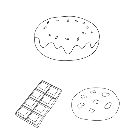 Chocolate Dessert outline icons in set collection.