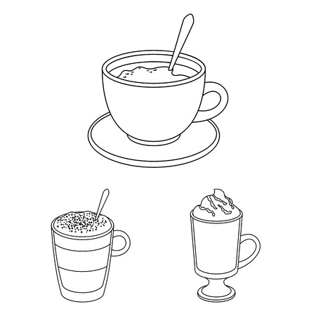 Different kinds of coffee outline icons in set collection Иллюстрация