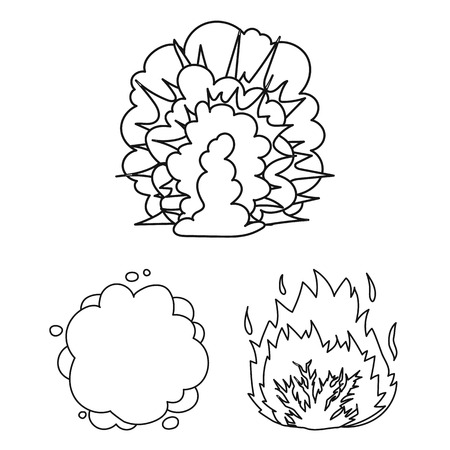 Different explosions outline icons in set collection for design. Flash and flame vector symbol stock web illustration. Illustration
