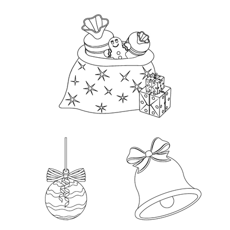 Christmas attributes and accessories outline icons in set collection.