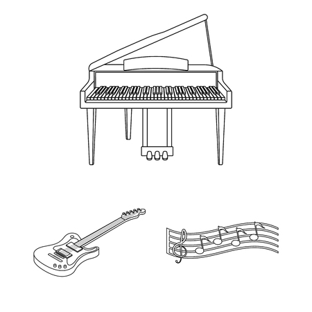 Musical instrument outline icons in set collection Illustration