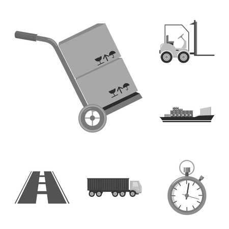 Logistics services monochrome icons in set collection.