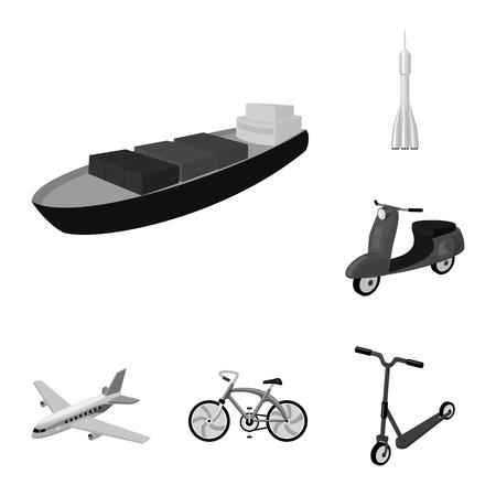 デザインのためのセットコレクション内の輸送モノクロアイコンの異なるタイプ。車と船のベクトルシンボルストックイラスト。