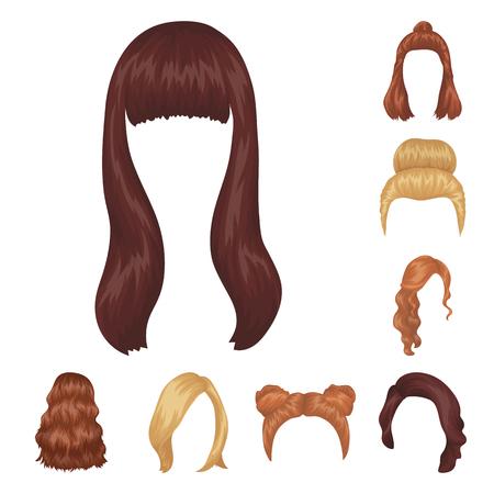 Female hairstyle set cartoon icons. 向量圖像