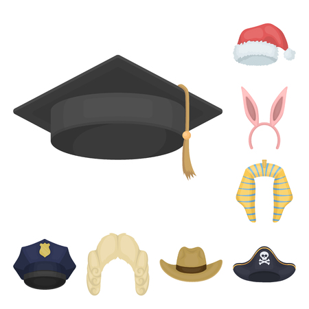 Different kinds of hats cartoon icons.