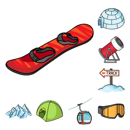 Ski resort and equipment cartoon icons in set collection for design. Entertainment and recreation vector symbol stock web illustration.