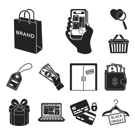 E-commerce, Purchase and sale black icons in set collection for design. Trade and finance vector symbol stock web illustration. Vectores