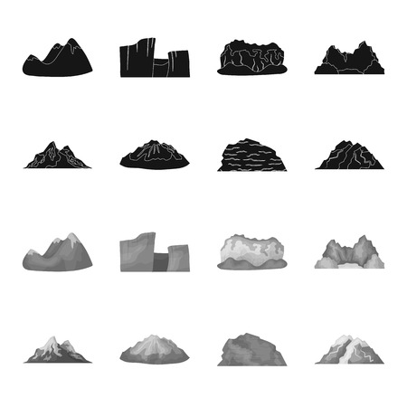 Mountain set collection icons in monochrome style vector symbol stock illustration web.