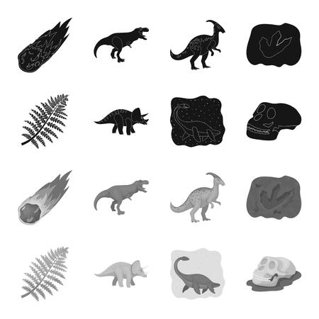 Sea dinosaur,triceratops, prehistoric plant, human skull. Dinosaur and prehistoric period set collection icons in black,monochrome style vector symbol stock illustration web.
