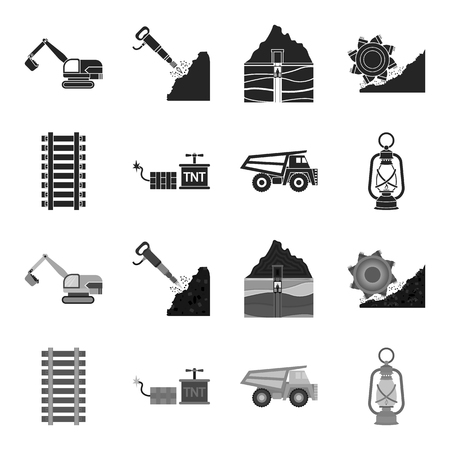 Ryllsy,vzryvchatka, dumper, lantern.Mine set collection icons in black,monochrome style vector symbol stock illustration web.