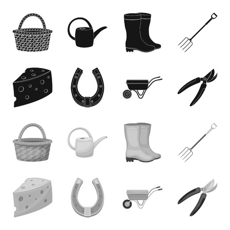 Cheese with holes, a trolley for agricultural work, a horseshoe made of metal, a pruner for cutting trees, shrubs. Farm and gardening set collection icons in black,monochrome style vector symbol stock illustration web. Ilustração