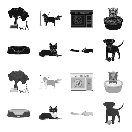 Lounger for a pet, clipping of claws in a vet clinic, lying dog, puppy with a ball. Vet clinic and pet, dog care set collection icons in black, monochrome style vector symbol stock illustration web.