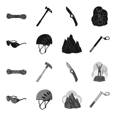 Helmet, goggles, wedge safety, peaks in the clouds.Mountaineering set collection icons in black,monochrome style vector symbol stock illustration web. Reklamní fotografie - 98835129