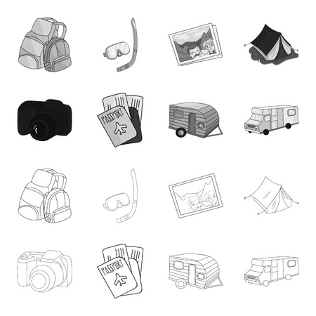 Family holiday set collection icons in outline, monochrome style.