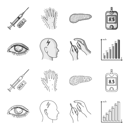 Diabetic set collection icons in outline, monochrome style vector symbol stock illustration web.