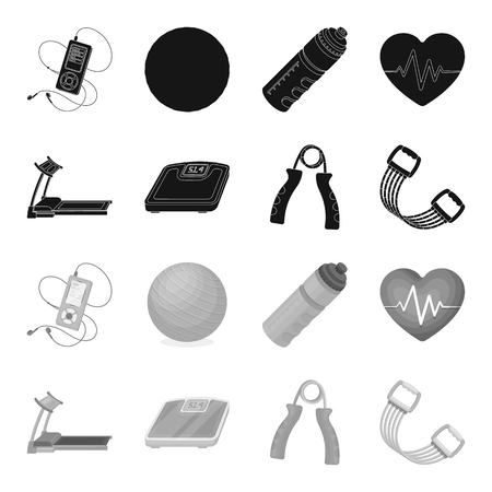 Treadmill, scales, expander and other equipment for training. Gym and workout set collection icons in black, monochrome style vector symbol stock illustration web.