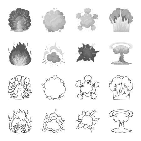 炎、火花、水素断片、原子またはガス爆発。爆発は、アウトライン、モノクロスタイルベクトルシンボル株式イラストウェブでコレクションアイコ
