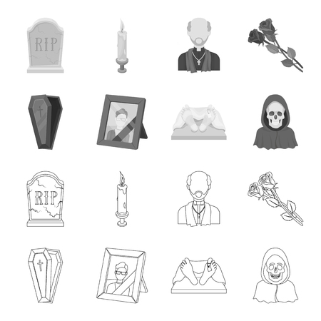 Funeral ceremony set collection icons in outline monochrome style vector symbol stock illustration web. Illustration